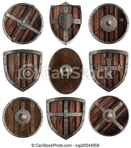 medieval wooden shields collection isolated on white - csp20244958
