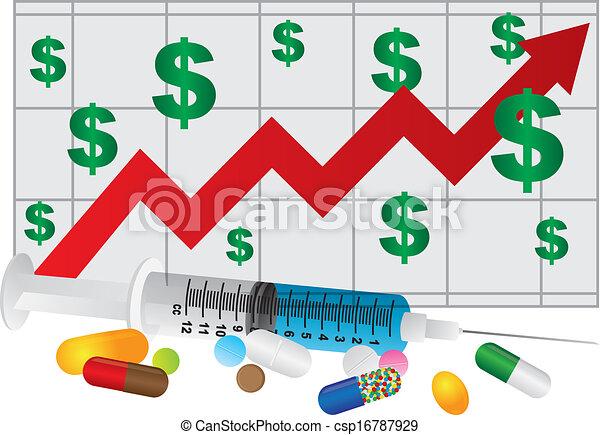 Spritze mit Tabletten und Diagramm Illustration - csp16787929