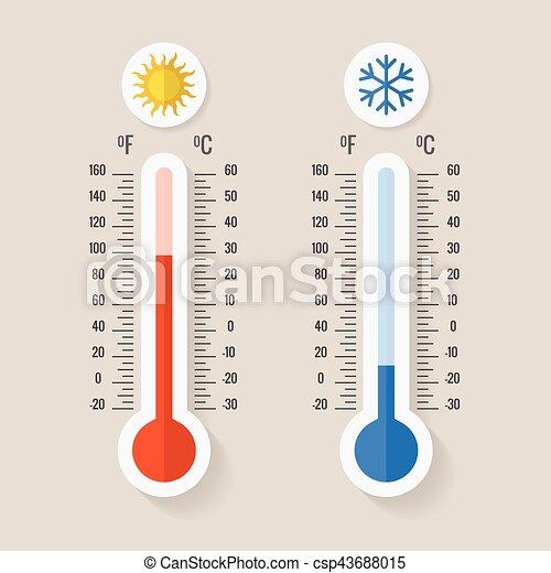 medindo, meteorologia, termômetros, celsius, ilustração, gelado, fahrenheit, calor, vetorial, ou - csp43688015