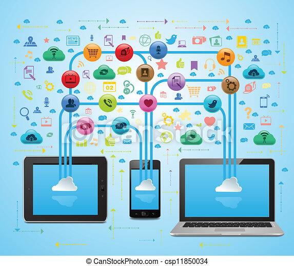 Los medios sociales de las nubes están sincronizados - csp11850034