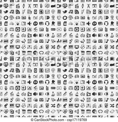 medios, garabato, conjunto, iconos - csp17119769