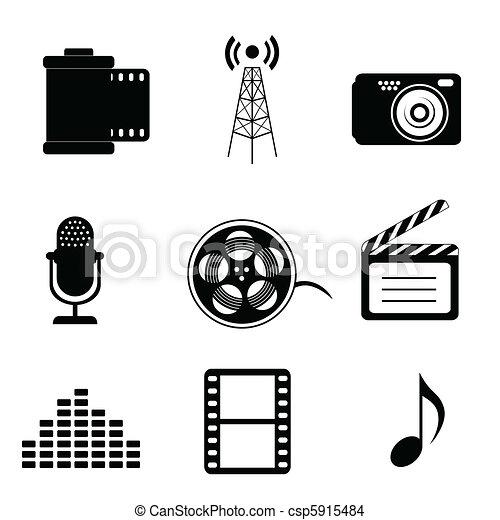 iconos de medios de comunicación - csp5915484