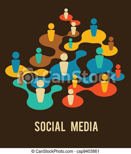 Los medios sociales y la ilustración de la red - csp9403861