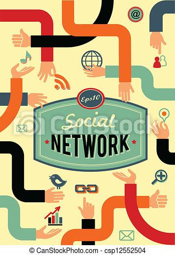 medios, red, vendimia, comunicación, estilo, social - csp12552504