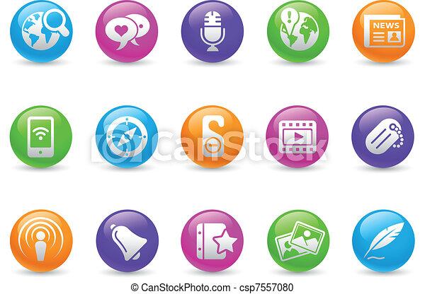 redes sociales / arco iris - csp7557080