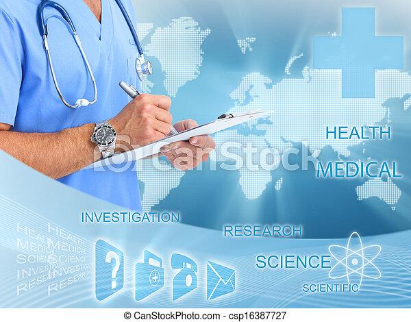 medisch, arts., handen - csp16387727