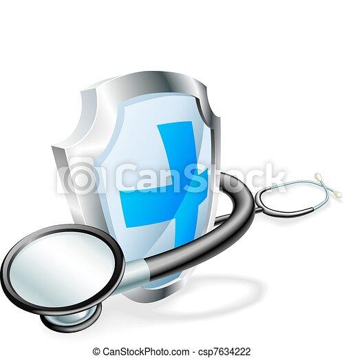 medisch concept, stethoscope, schild - csp7634222