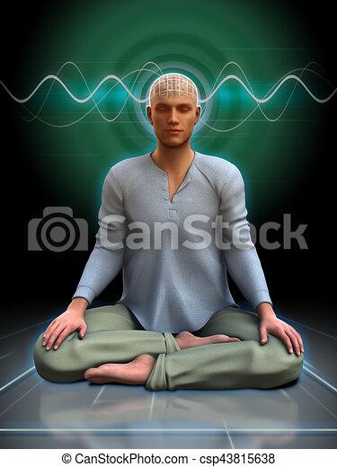 Ondas cerebrales de meditación - csp43815638