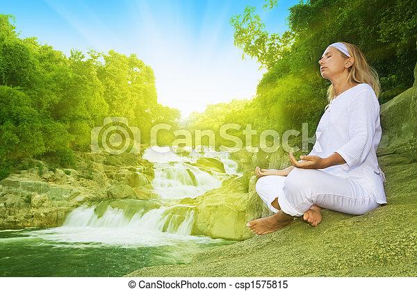 meditación, salida del sol, tiempo - csp1575815