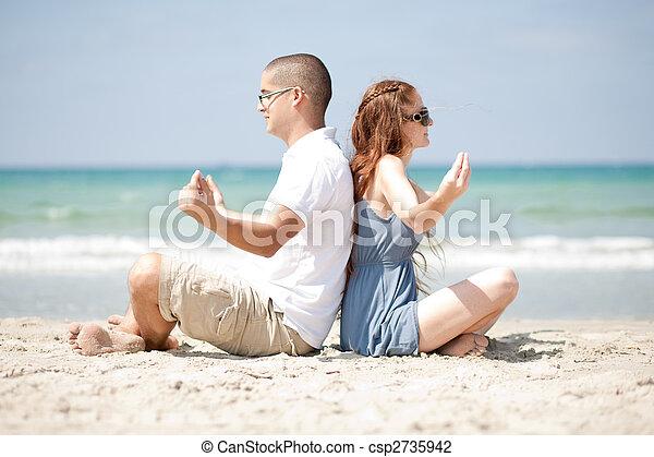 meditare, spiaggia - csp2735942