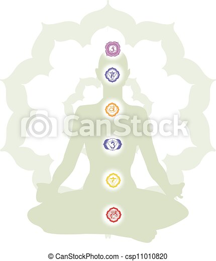 Meditation and Chakra, illustration - csp11010820