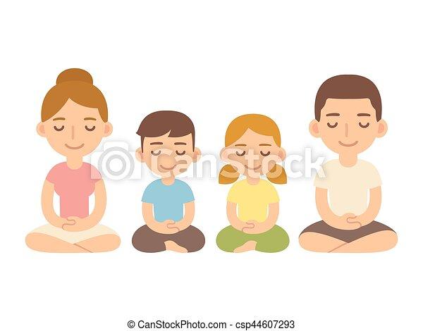 Familia sentada en meditación. - csp44607293