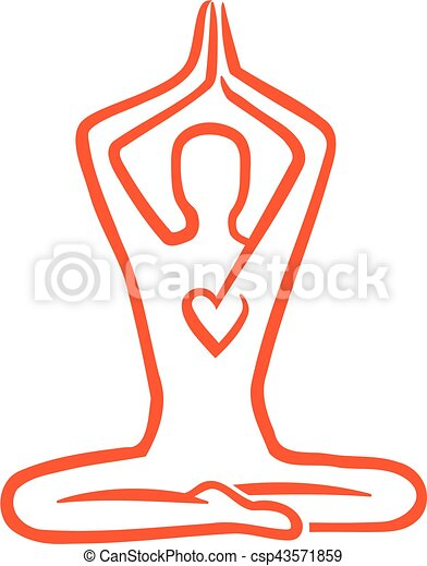 Meditation hand drawn with heart - csp43571859