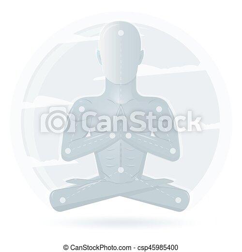 Meditation Man Isolated On White Background Cartoon Character Vector Yoga Flat Design