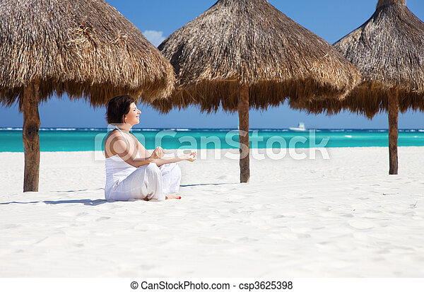 meditation on the beach meditation of happy woman in
