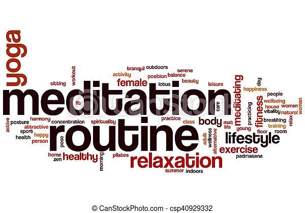 Meditation routine word cloud - csp40929332