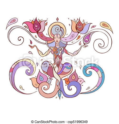 Meditation Yoga Silhouette Yoga Silhouette Hand Drawn Vector Illustration Meditation In Lotus Pose Padmasana