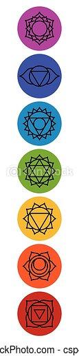meditazione, sette, chakra, yoga, set, symbols. - csp44569859