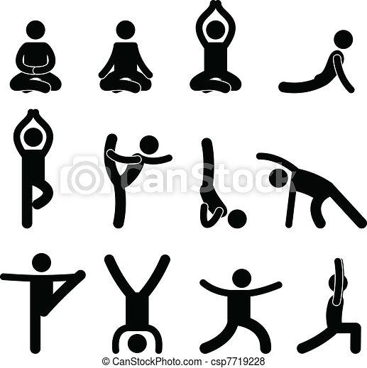 meditazione, stiramento, yoga, esercizio - csp7719228