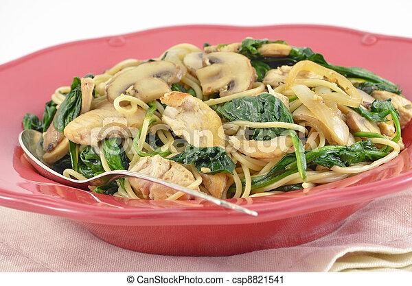 Mediterranean Chicken and Spinach Pasta - csp8821541