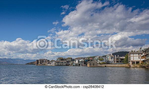 Mediterranean coastal resort town - csp28408412