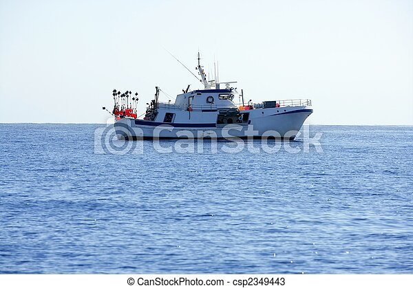 Mediterranean longliner boat working in Alicante - csp2349443