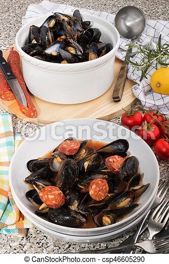 mediterranean mussels in a deep plate - csp46605290