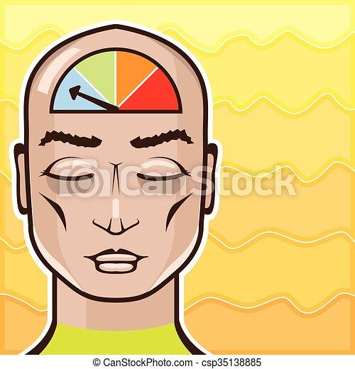meditieren, messgerät, entspannen, alarm, person - csp35138885