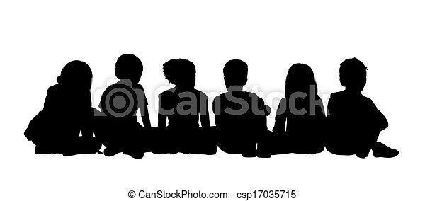 medium group of children seated silhouette 2 - csp17035715
