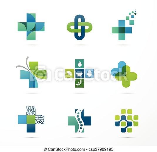 Medizinische, Gesundheits- und Apotheken-Ikonen - csp37989195