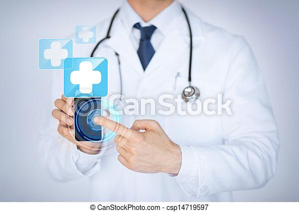 medizin, smartphone, app, besitz, doktor - csp14719597
