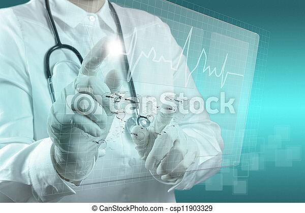 medizinprodukt, modern, edv, arbeitende , doktor - csp11903329
