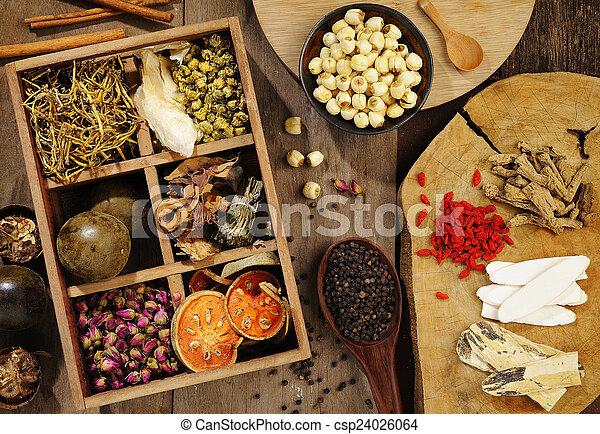 Chinesische Kräutermedizin und Blumentee - csp24026064