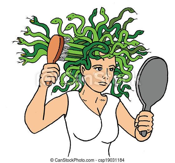 medusa bad hair day vector search clip art illustration rh canstockphoto com