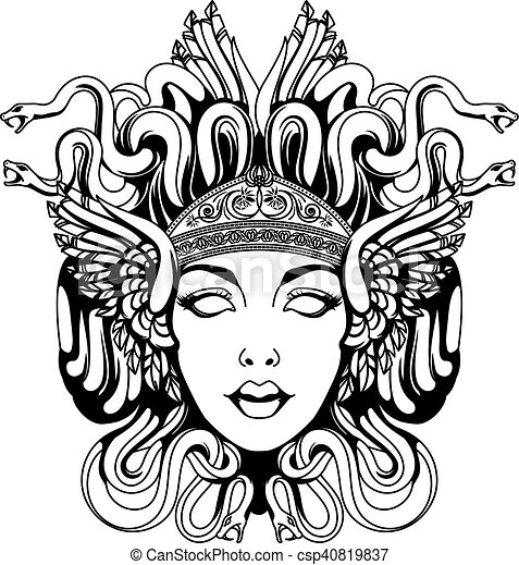 medusa, gorgona, portret - csp40819837