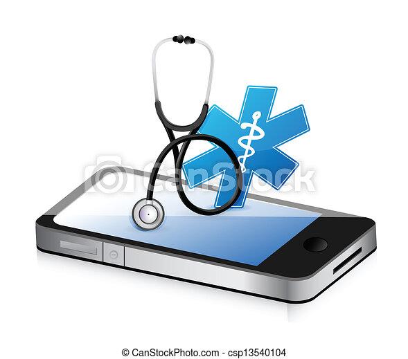 medyczny, stetoskop, app - csp13540104