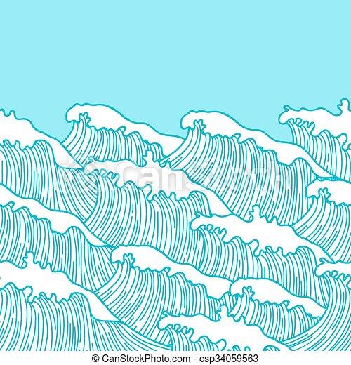 Meer Muster Abstrakt Verpackung Seamless Hand Textildruck Papier Hintergrund Gezeichnet Waves