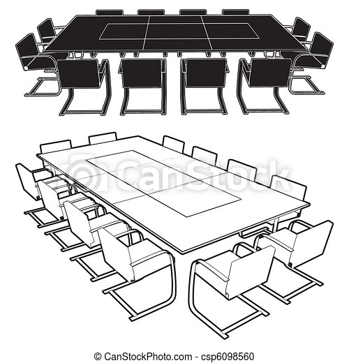 Vector Clipart Of Meeting Conference Table Vector Csp - Conference room table and chairs clip art