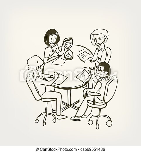 meeting office time out vector illustration sketch doodle - csp69551436