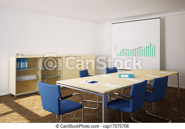 Meeting Room With Blue Chairs And Flipchart