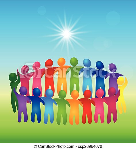 Meeting teamwork people logo vector - csp28964070