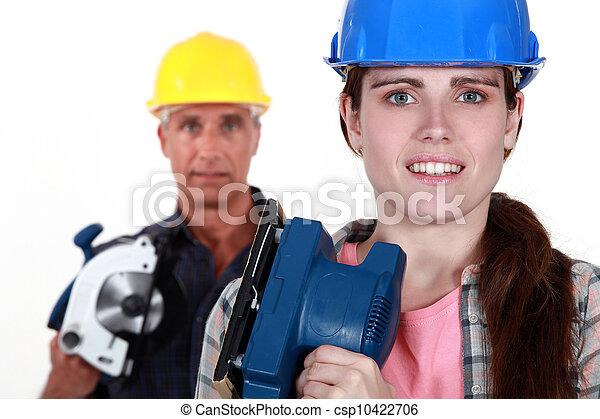 megújít, épület, hajlandó, lány, atya - csp10422706
