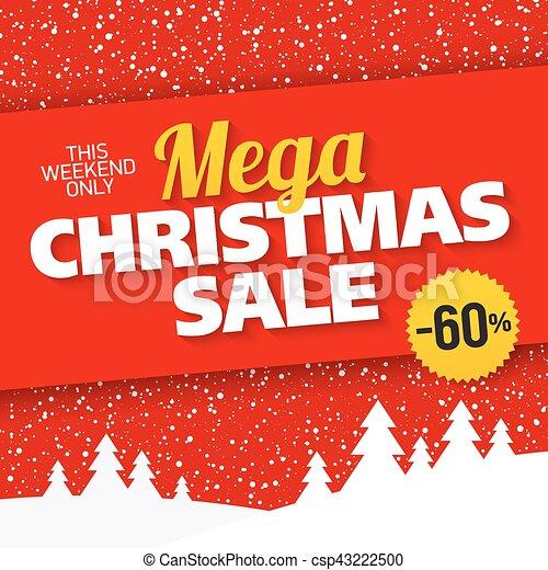 6cfdeb8e39 Mega christmas sale banner vector illustration.