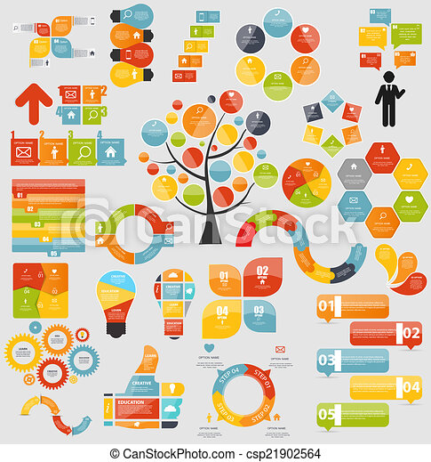 Mega Collection of Flat Infographic Templates for Business Vecto - csp21902564