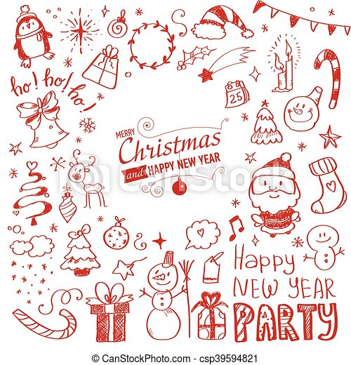 Mega Doodle Design Elements Vector Set - csp39594821