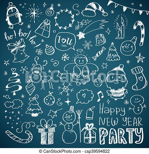 Mega Doodle Design Elements Vector Set - csp39594822