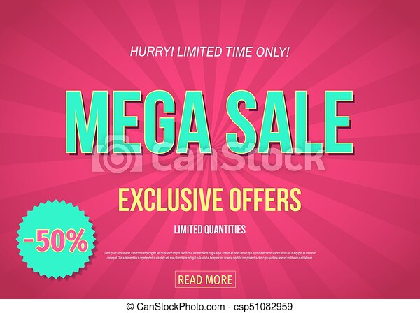 5de4a9ae422a Mega sale banner in pink color. exclusive offers poster  up to 50% off.  vector illustration in modern style.