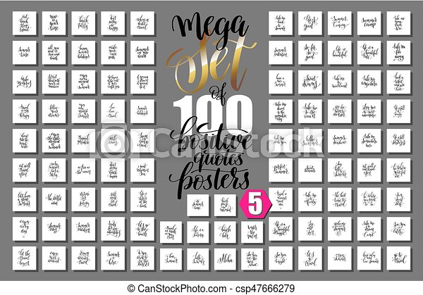 Mega Set Of 100 Positive Quotes Posters About Happy Summer   Csp47666279
