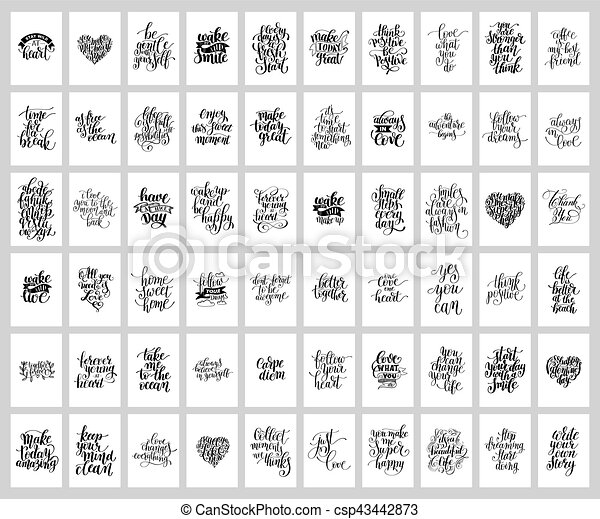 mega set of 60 hand written lettering positive inspirational quo - csp43442873