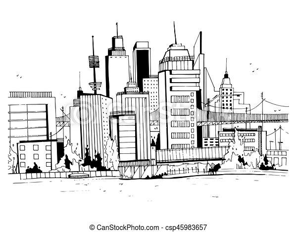 megalopolis city street illustration hand drawn sketch landscape